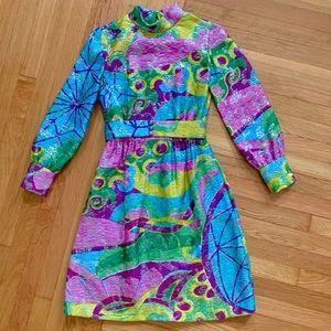 Vintage 60s psychedelic balloon sleeve mini dress